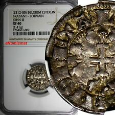 BELGIUM Brabant, Jean III (1312-1355) Silver Louvain NGC XF40 TOP GRADED BY NGC