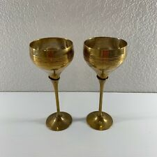 Champagne Drinking Glass Goblet Silver Plated Brass Set 2 Wine Long Stem India