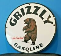 VINTAGE GRIZZLY BEAR GASOLINE PORCELAIN GAS MOTOR OIL SERVICE STATION PUMP SIGN