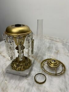 Antique Solar Astral Lamp Original Heavy Oil Lamp Gilded Brass