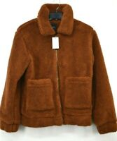 Elodie Womens Brown Long Sleeves Front Zip Front Pocket Faux Shearling Jacket S