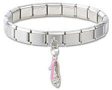 Italian Charm Bracelets Stainless Steel Starter 925 Sterling Silver Pink Shoe