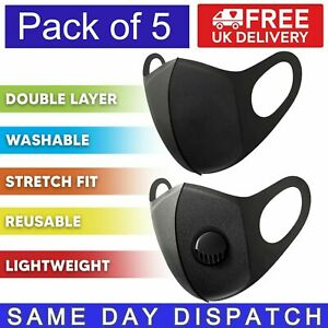 5 Pack Reusable Face Mask with Filter Valve | Washable Adult Protection | Black