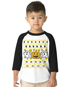 Ugly Halloween Sweater Contest Funny October Autumn  Toddler Raglan T-Shirt