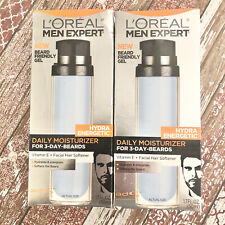 Loreal Men Expert Hydra Energetic Daily Moisturizer 3 Day Beards Lot of 2 NEW