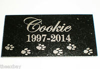 """6"""" x 12"""" Name & Date Pet Memorial GRANITE Grave Marker Stone With Small Paws"""