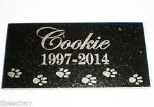 "6"" x 3"" Name & Date Pet Memorial GRANITE Grave Marker Stone With Small Paws"