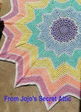 Rainbow 12 pointed star crochet blanket New and Unused
