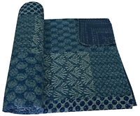 QUEEN BLUE PATCHWORK INDIAN KANTHA QUILT COTTON TWIN BEDSPREAD THROW Decorative