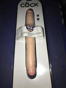 "KING COCK 12"" SLIM DOUBLE DILDO Pipe dreams In Original Retail Packaging"