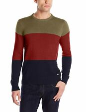 NEW Dickies Color Block Cotton Sweater Men's XL Tricolor Green, Dark Red, Navy