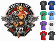 Knucklehead pinup ROUTE  66 motorcycle biker old time graphic T-shirt Adult A25
