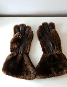 Ladies Vintage Brown Faux Fur And Leather Gauntlet Gloves