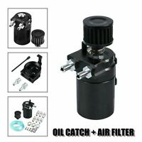Oil Catch Reservoir Breather Can Tank+Filter Kit Cylinder Aluminum Engine BLACK