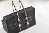 Silpada RARE Sterling Silver 925 Folded Oxidized Long Threader Earrings W0709