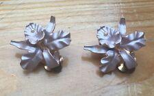 Vintage Clip On Enamel Earrings/Pink Orchid Flower/Gold Tone Metal/50's/60's Lk