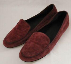 WITCHERY ~ Merlot Burgundy Suede Round Toe Flat Loafers EU 41 AU 10 UK 8
