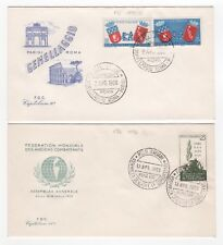 1959 ITALY - 2 x First Day Covers ROME PARIS TWINNING & EX COMBATANT ASSEMBLY