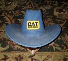 Vintage Denim Caterpillar Cat Diesel Power Cowboy Western Hat Medium collectible