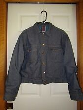 Vintage ROEBUCKS Plaid Flannel Lined Trucker Blue Jean Jacket 40-R USA