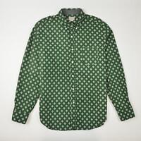 J.Crew Factory Button Down Shirt Green Polka Dot Long Sleeve Men's Size L