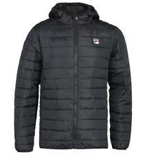 Fila Black Quilted Jacket with Hood for Men Regular Fit Twin Slit Pockets