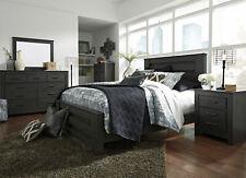 NEW Modern Dark Gray Finish 5 piece Bedroom Suite w. Queen Panel Bed Set IA0L
