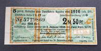 5 % Anleihe des Deutschen Reichs 2,5 Mark 1916 Zinsschein Banknote Grün (8083)