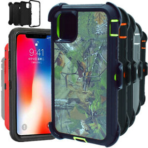 For iPhone 11 11 Pro Max Shockproof Hard Heavy Duty Camo Case Cover Belt Clip