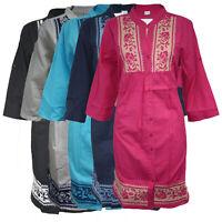 Women Ladies Cotton Stylish Kurti Indian Pakistani Kurta Tunic Top Kaftan 2041