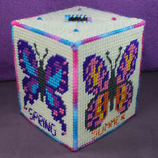 BUTTERFLY TISSUE TOPPER Box Cover Moth Monarch Seasons Decor Plastic Canvas Yarn