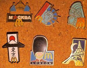 Lote De 6 Pin ´S Mc Donalds París Londres New York Mexico Moscú Tokyo
