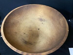 """WONDERFUL VERY LARGE VINTAGE COUNTRY WOODEN BOWL MEASURING 20"""" ACROSS"""