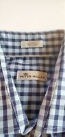 PETER MILLAR BUTTON SHIRT size Large BLUE PLAID -DRESS Cotton 59-15