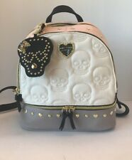Betsey Johnson SKULL Heart Studded Backpack School Bag  Cream Blush Skeleton NWT
