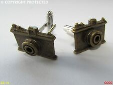 steampunk jewellery cufflinks bronze coloured camera photographer tog obscura