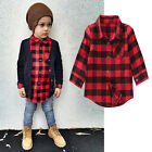 Kids Baby Boys Girl Checked Shirt Long Sleeve Casual Cotton T-Shirt Tops Clothes