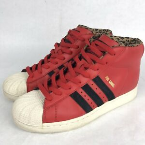 Adidas Mens Shell Toe Red Leopard Print Pro Model Sneakers Shoes Sz 8.5, D74392
