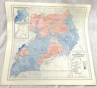 1967 Vintage Map Of Uganda Afrika Geophysics Seismology Geography Tabelle