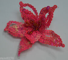 HOT PINK Clip On Sequin Applique Embroidery Flower Lily Star Starburst Gown NEW