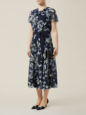 New Jacques Vert dress 14 16 Chiffon Navy Lemon Ivory Floral Butterfly rrp £169