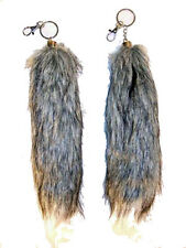 FOX TAIL KEY CHAIN GREY WITH WHITE TIP foxes wild animal fur novelty tails new