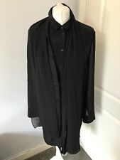 Gorgeous All Saints Black Silk Reese Shirt Dress UK 14