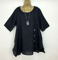 C Valentyne 100% Linen Tunic Top Navy Blue Lagenlook Ladies UK Size 14 16