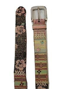 Fossil Women's Belt Hippie Boho Brown Floral Medium