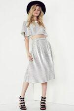 Stretch Knit Machine Washable Striped Regular Skirts for Women