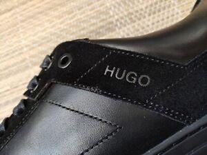 Hugo Boss men's Futurism leather sneakers - black & dark grey