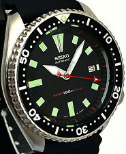 Vintage mens watch SEIKO diver 7002 mod w/Gray DAGGER & RED Stealth SS hand set!