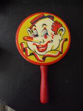 """Vintage Wood Handle Metal Top Clown Head Noise Maker 4"""" Wide"""