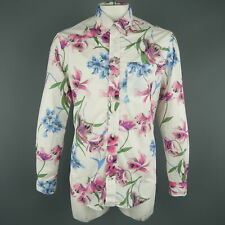 GITMAN VINTAGE Size L White Floral Cotton Long Sleeve Shirt